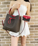 Michael Kors Suri Large Bucket Drawstring Crossbody Bag Brown MK Flame Red + Card Holder