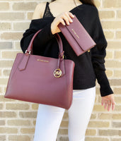Michael Kors Kimberly Large East West Satchel Merlot + Trifold Wallet - Gaby's Bags