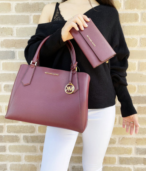 Michael Kors Kimberly Large East West Satchel Merlot + Trifold Wallet