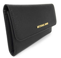 Michael Kors Jet Set Travel Large Trifold Wallet Black Saffiano Leather - Gaby's Bags