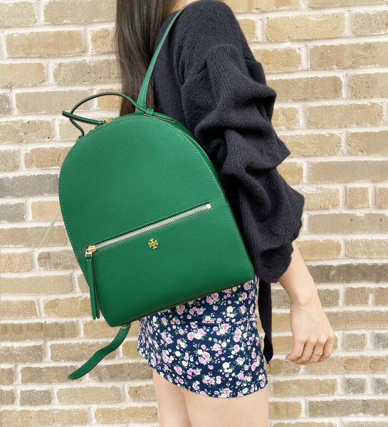 Tory Burch Emerson Backpack Emerald Stone Green Top Zip Saffiano Leather