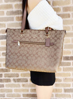 Coach Gallery Tote Shoulder Bag Khaki Signature Saddle 2 - Gaby's Bags