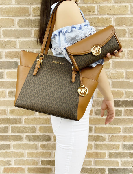 Michael Kors Charlotte Top Zip Tote Brown Signature + Fulton Wallet