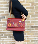Tory Burch Britten Embellished Large Adjustable Shoulder Bag Blood Red Floral