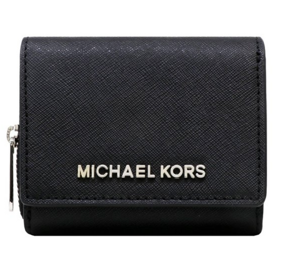 Michael Kors Jet Set Travel Small Multifunctional Zip Around Case Wallet Black - Gaby's Bags