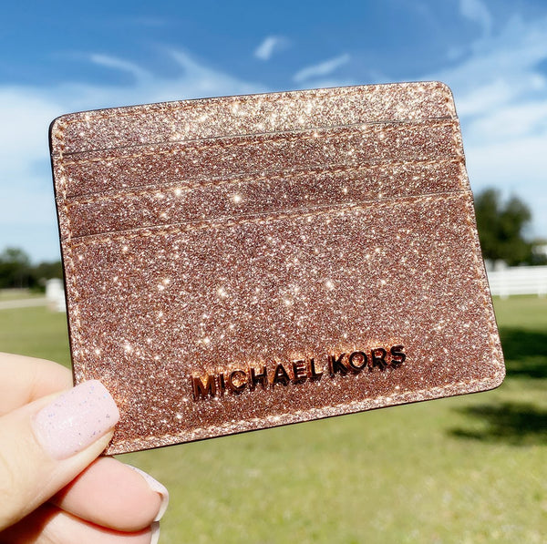 Michael Kors Giftables Jet Set Travel Large Card Holder Rose Gold Glitter - Gaby's Bags