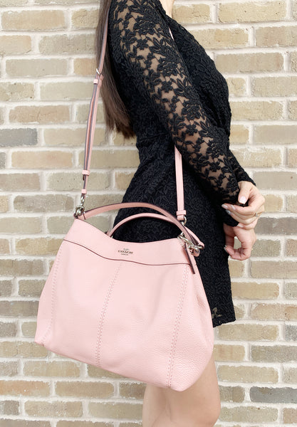 Coach F28992 Small Lexy Pebbled Leather Shoulder Bag Crossbody Petal Pink - Gaby's Bags