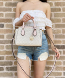 Michael Kors Daria Small 2 In 1 Satchel Dome Crossbody Vanilla MK Signature Pink
