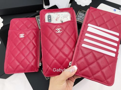 0721ec98e1a3 Chanel Caviar Wallet Card Phone Holder O-Case Zip Pouch Clutch 18B Dark Red