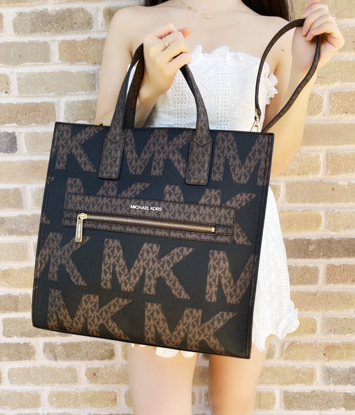 Michael Kors Kenly XL Large NS Tote Satchel Bag Brown MK Graphic Logo Black