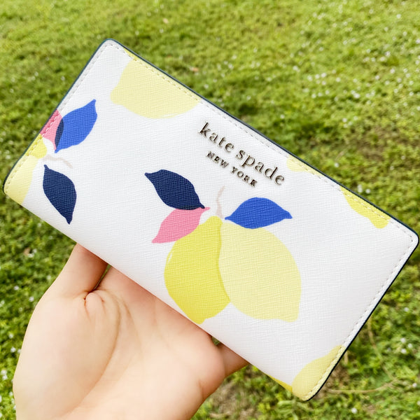 Kate Spade Cameron Large Slim Bifold Leather Wallet Credit Card Holder Lemon Zest