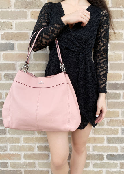 6d4cc5f2ac346 ... Coach F28997 Lexy Pebbled Leather Shoulder Bag Tote Petal Pink - Gaby s  Bags