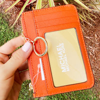 Michael Kors Jet Set Travel Small Wallet Key Ring Top Zip Coin Pouch ID Holder Clementine