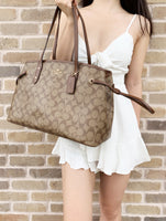 Coach F57842 Signature Drawstring Carryall Tote Khaki Brown Satchel Large - Gaby's Bags