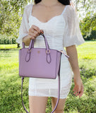 Tory Burch Emerson Mini Top Zip Tote Crossbody Bag Dusty Violet Lilac