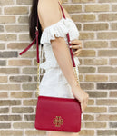Tory Burch Britten Combo Leather Large Crossbody Messenger Redstone