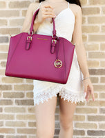 Michael Kors Ciara Large Top Zip Satchel Saffiano Leather Mgenta - Gaby's Bags
