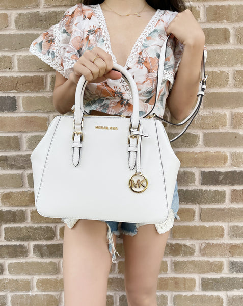 Michael Kors Charlotte Large Top Zip Satchel Optic White Leather Crossbody