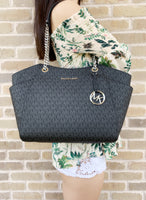 Michael Kors Jet Set Travel Chain Shoulder Tote Black MK Signature