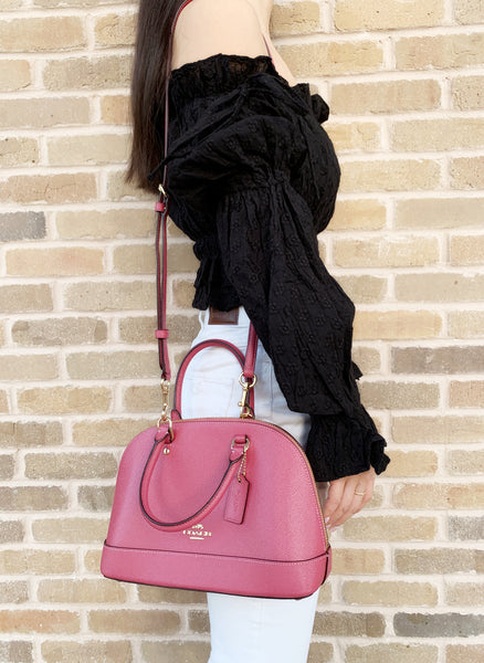 Coach F27591 Mini Sierra Satchel Bag Crossbody Pink Rouge - Gaby's Bags