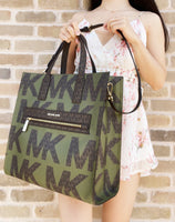 Michael Kors Kenly Large NS Tote Satchel Graphic Logo Brown MK Green Multi