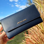 Michael Kors Jet Set Travel Large Trifold Wallet Navy Smooth Leather