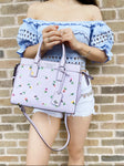 Kate Spade Cameron Street Medium Satchel Crossbody Wildflower Ditsy Lilac