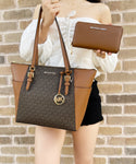 Michael Kors Charlotte Top Zip Tote Brown MK Signature + Luggage Zip Wallet