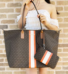 Michael Kors Travel XL Center Stripe Tote Brown MK Orange + Matching Wristlet