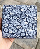 Michael Kors Small Trifold Card Case Carryall Wallet Navy Pale Blue Floral
