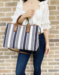 Michael Kors Greenwich Medium East West Tote Navy Multi Stripe Canvas Leather