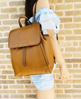 Michael Kors Ginger Large Backpack Abbey Drawstring Pebbled Leather Luggage