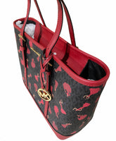 Michael Kors BARCELONA Jet Set Small Top Zip Tote Black Red - Gaby's Bags