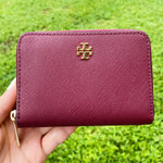 Tory Burch Emerson Zip Coin Case Wallet Imperial Garnet Burgundy Key Ring