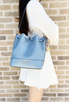 Michael Kors Trista Medium Bucket Bag Saffiano Leather Powder Blue - Gaby's Bags