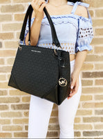 Michael Kors Nicole Large Shoulder Tote Black MK + Continental Wristlet Wallet