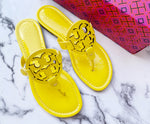 NIB Tory Burch Miller Sandals Patent Leather Limone Yellow 7.5
