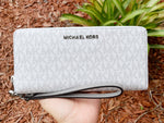 Michael Kors Jet Set Travel Continental Long Wallet Wristlet White MK Cement