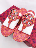 Tory Burch Miller Sandals Flip Flop Orange Coral Pink 7 7.5 8 8.5 10 - Gaby's Bags