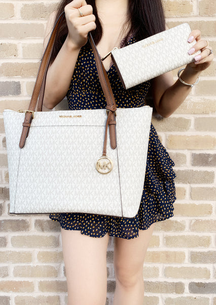 Michael Kors Ciara East West Top Zip Tote Vanilla + 3/4 Zip Wallet Vanilla - Gaby's Bags