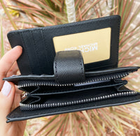 Michael Kors Jet Set Bifold Wallet Zip Coin Case ID Black MK