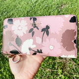 Kate Spade Neda Briar Lane Gala Floral Zip Around Wallet Leather Pink Multi Ring