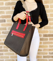 Michael Kors Kenly Large Tote Leather Brown MK Flame Red + Trifold Wallet
