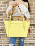 Michael Kors Ciara East West Top Zip Tote Sunshine Yellow Saffiano Leather