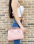Coach F41343 Mini Bennett Satchel Pink Petal Signature Debossed Patent Leather