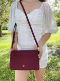 Tory Burch Emerson Combo Crossbody Saffiano Leather Imperial Garnet Burgundy