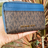Michael Kors Jet Set Dark Chambray Crossgrain Leather Large Crossbody + Wallet