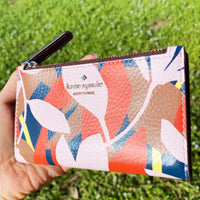 Kate Spade Jackson Tropical Toss Small Slim Bifold Wallet Leather Pink Multi