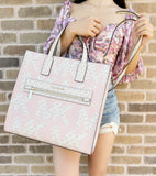 Michael Kors Kenly XL Tote Satchel Graphic Logo Vanilla MK Powder Blush Pink