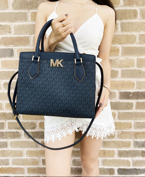 Michael Kors Mott Large Satchel Admiral Blue MK Signature